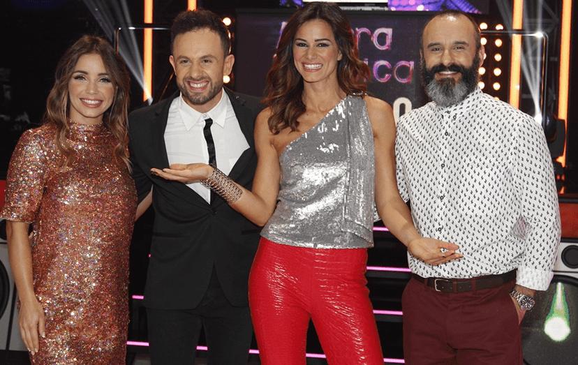A atriz com os colegas de 'Agarra a Música', João Paulo Rodrigues, Cláudia Vieira e Rui Unas