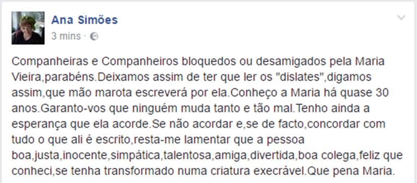Comentário partilhado por Ana Bola, que assina Ana Simões nas redes sociais