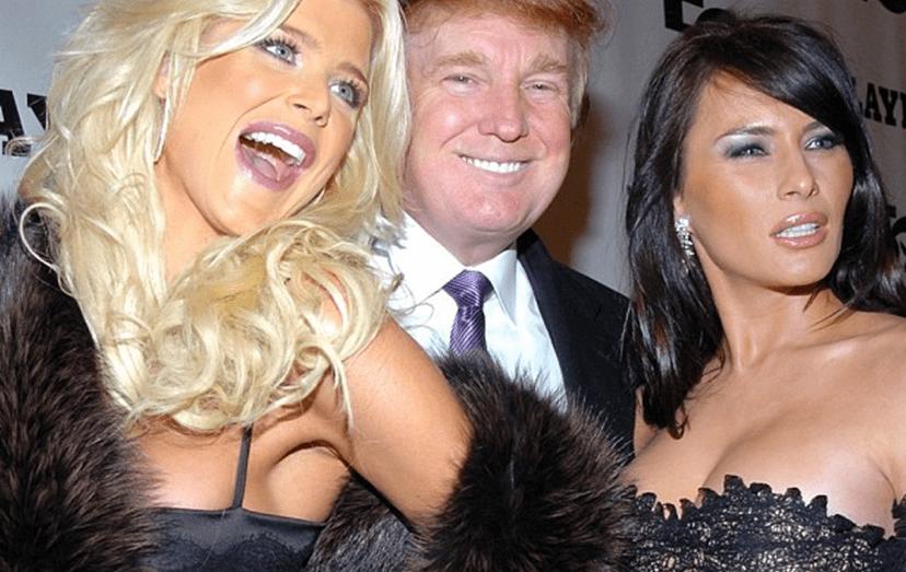 Donald Trump com Melania  na festa do 50º aniversário da revista Playboy