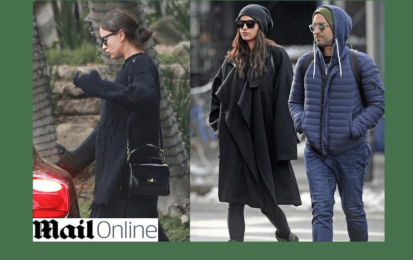 À esq., a camisola já não esconde o tamanho da barriga; à dir., Irina passeia com Bradley Cooper com um casaco com várias camadas