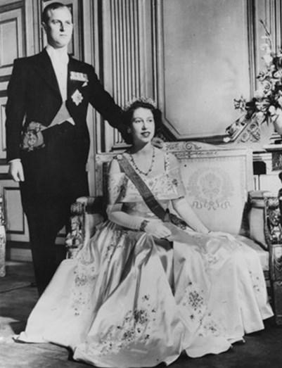 1 de janeiro de 1952, a rainha Isabel II com marido, o príncipe Filipe.