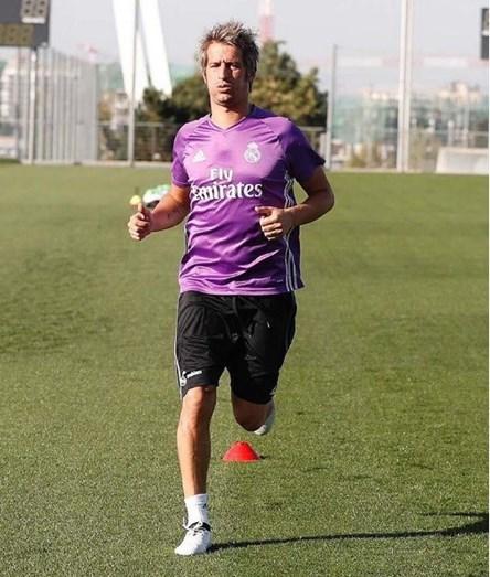 Fábio Coentrão em treinos no Real Madrid