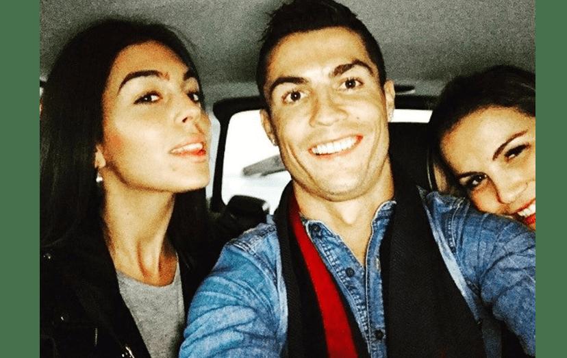 Cristiano Ronaldo com a namorada, a espanhola Georgina Rodríguez, e a irmã Katia Aveiro.