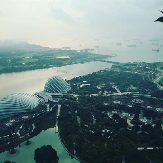 Vista do hotel, em Singapura