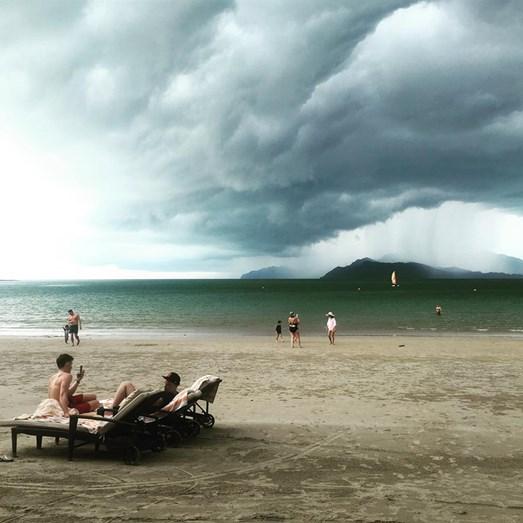 Cristina avistou uma tempestade, ainda que estivessem temperaturas altíssimas