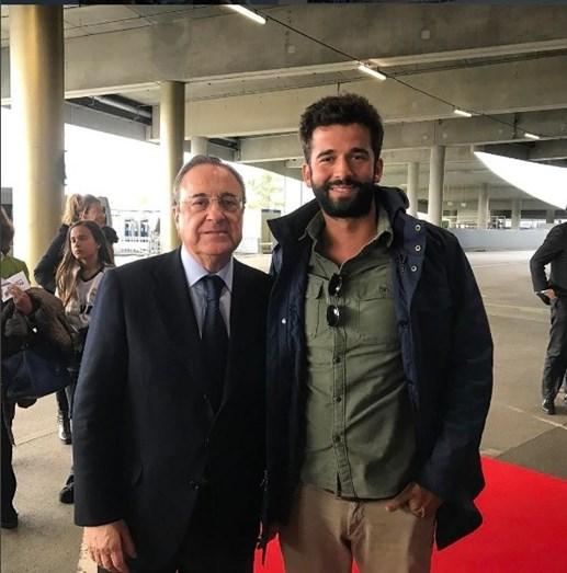 Com o presidente do Real Madrid, Florentino Pérez