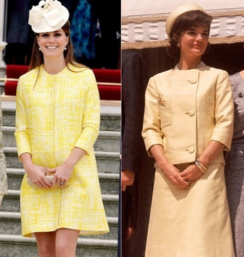 Kate, grávida do príncipe George e vestia Emilia Wickstead, em maio de 2013. Jackie Kennedy vestiu Oleg Cassini, durante uma visita oficial a Paris, em 1961