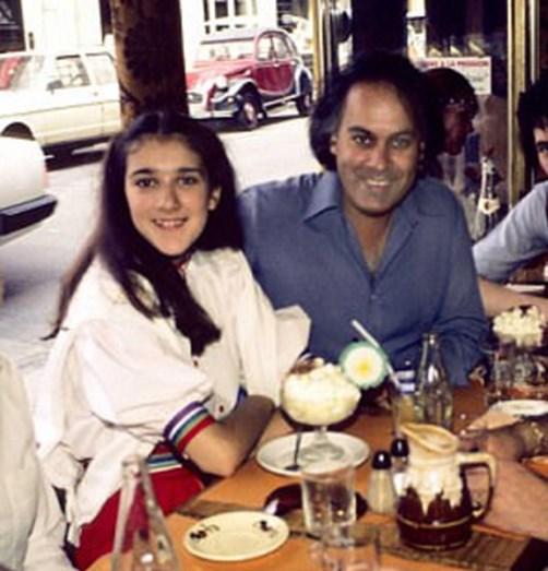 Celine Dion e René Angélil, quando a cantora tinha 12 anos e o produtor 38 anos