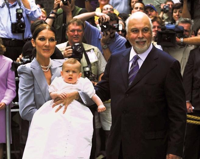 Celine e René com o filho mais velho, René-Charles