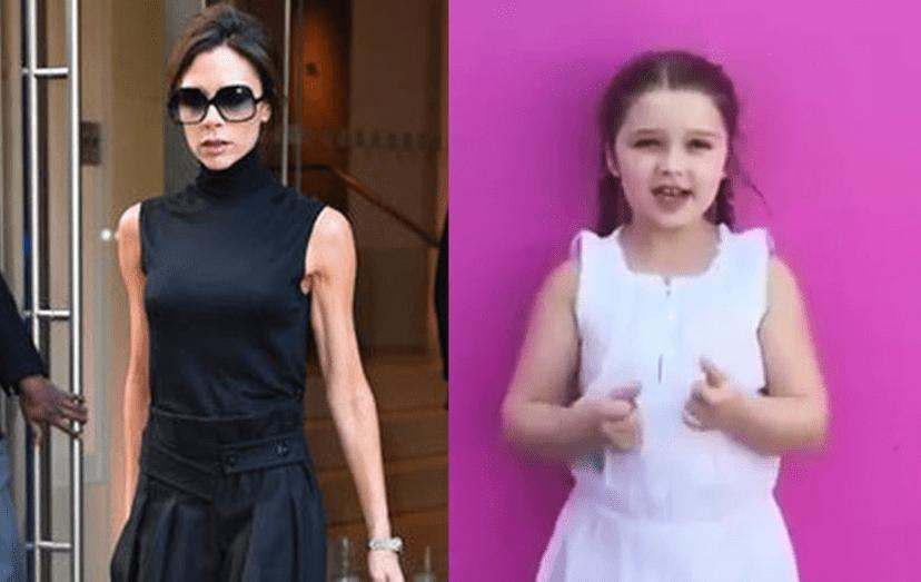 Harper tens os braços mais rechonchudos do que a mãe, a ex-Spice Girl, Victoria Beckham