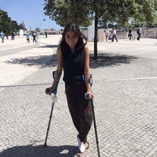 Matilde em Fátima, onde foi com a mãe