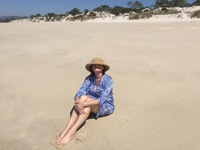 Júlia também já foi à praia