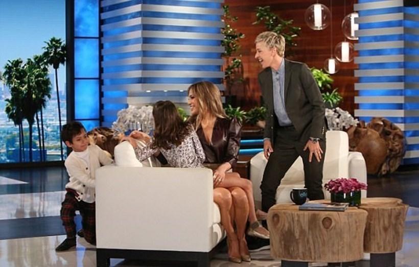 Filhos de Jennifer Lopez no talkshow de Ellen DeGeneres