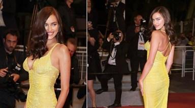 Irina Shayk exibe barriga perfeita em Cannes