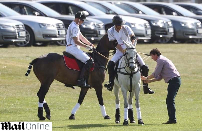 Harry e William durante o evento de polo