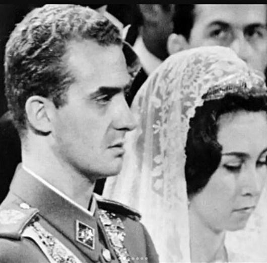 Juan Carlos e Sofia no dia do casamento