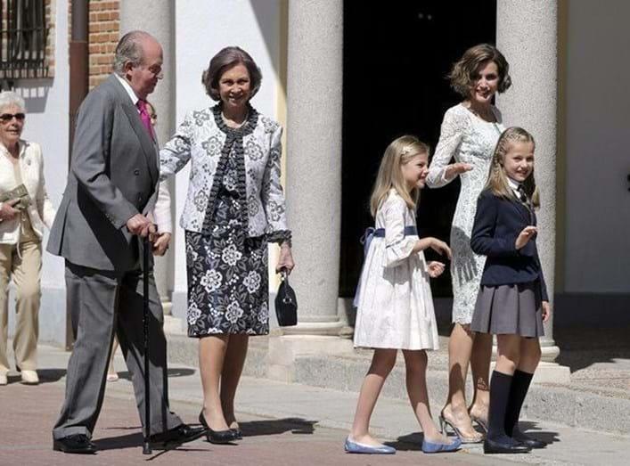 A Primeira Comunhão da princesa Leonor, em 2015 contou com a presença dos avós, os reis eméritos