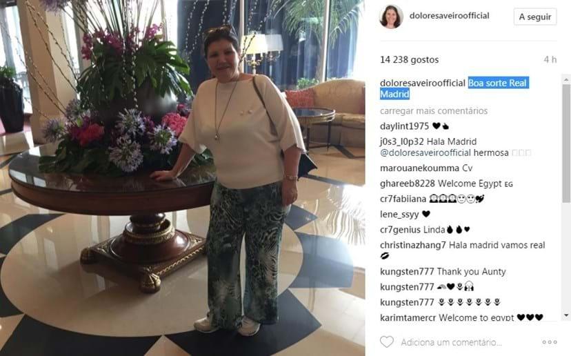 No lobby do hotel, Dona Dolores deixou uma mensagem de apoio ao filho Cristiano Ronaldo que ficou em Espanha a jogar pelo Real Madrid