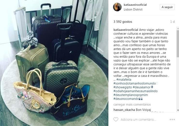 Katia Aveiro mostrou aos fãs as suas malas para a grande viagem