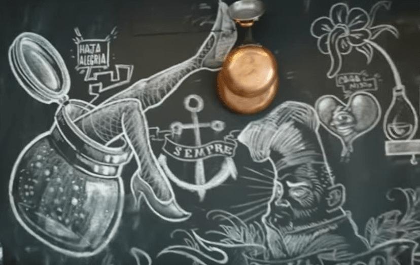 A parede que está decorada, a rigor, por 3 artistas amigos do jugoslavo.