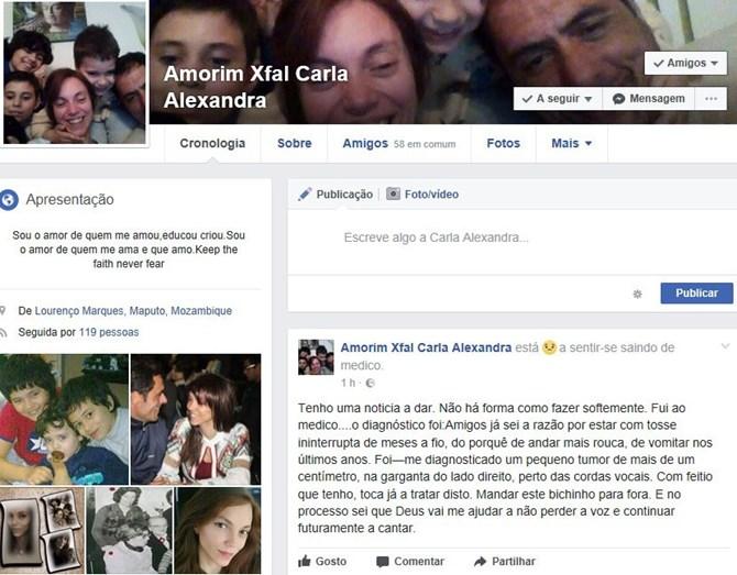 A publicação de Carla nas redes sociais
