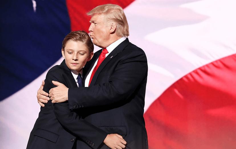 Barron com o pai, Donald Trump