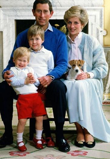 Os príncipes de gales com os seus filhos, William e Harry