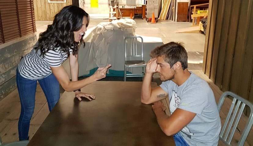 Lourenço Ortigão com a atriz Daniela Ruah nos estúdios da Paramount