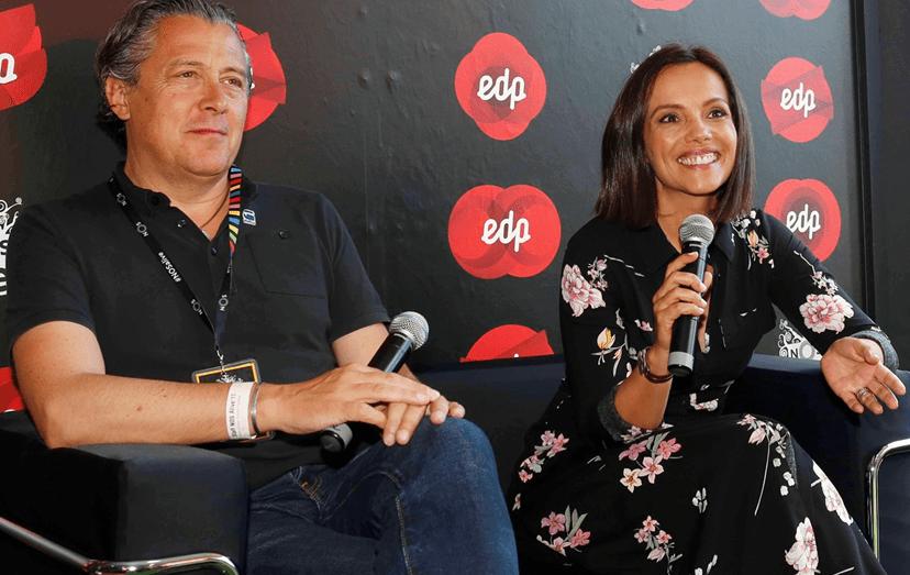 Álvaro Covões e Ana Sofia Vinhas no stand EDP no NOS Alive