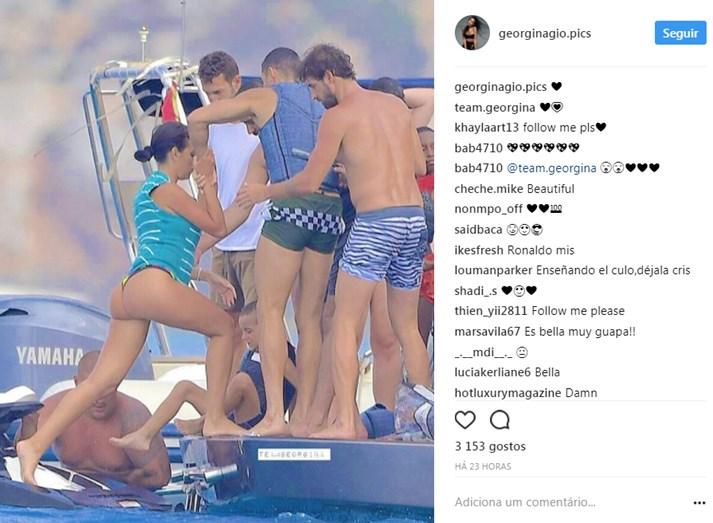 Grávida, Georgina Rodríguez diverte-se no jetski