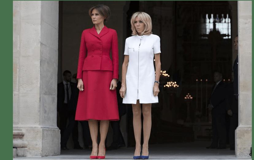 Melania Trump e Brigitte Macron, em Paris