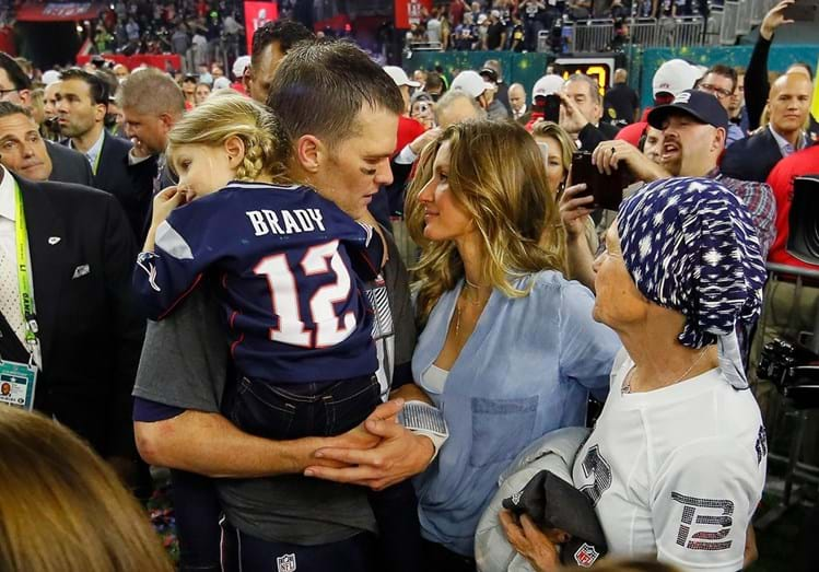 Tom Brady e Gisele Bündchen no final da Super Bowl