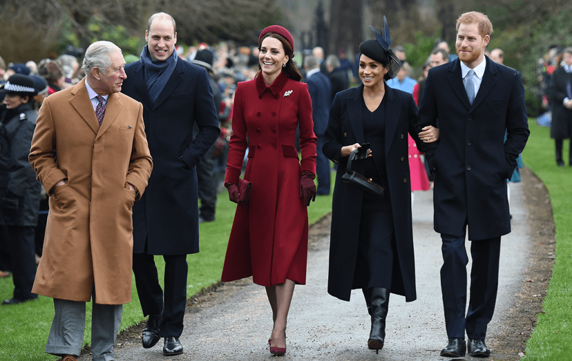 Carlos, William, Kate Middleton, Meghan Markle e Harry